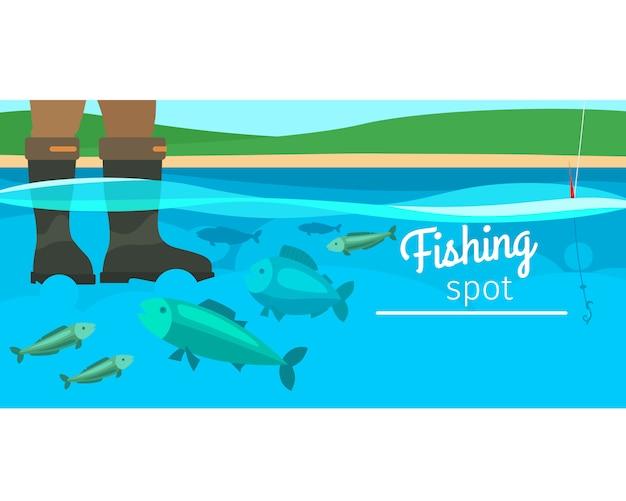 Ilustração horizontal de esporte de pesca