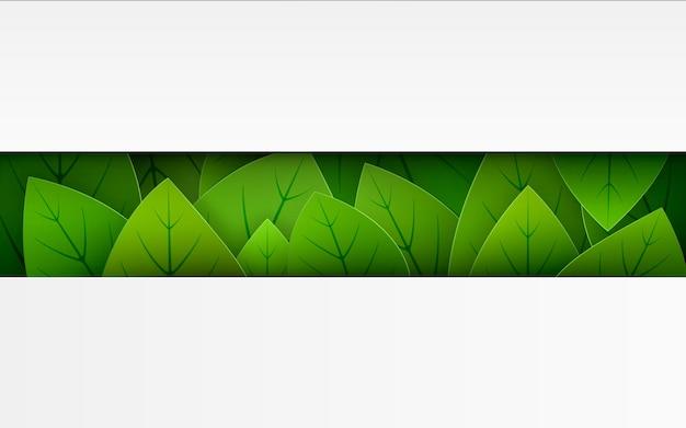Ilustração horizontal de folhas verdes com copyspace vazio