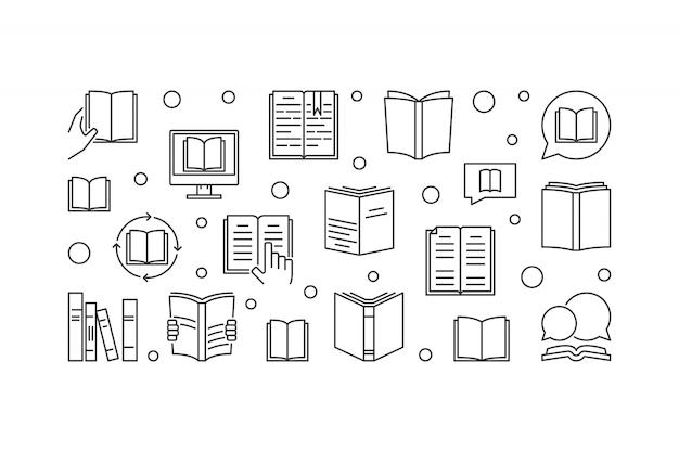Ilustração horizontal de livros conceito em estilo de linha fina