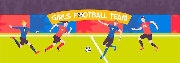 Ilustração horizontal de mulher de futebol