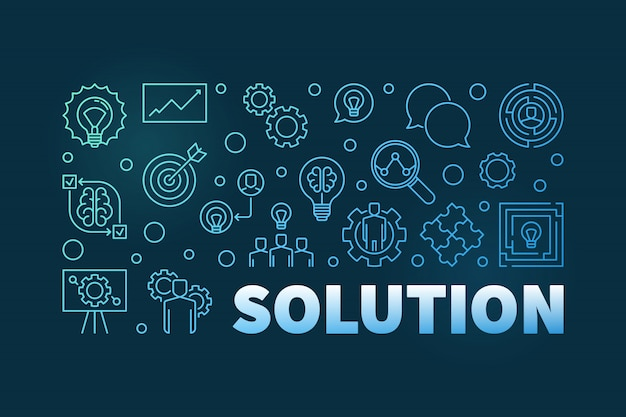 Ilustração horizontal de solução azul ou banner