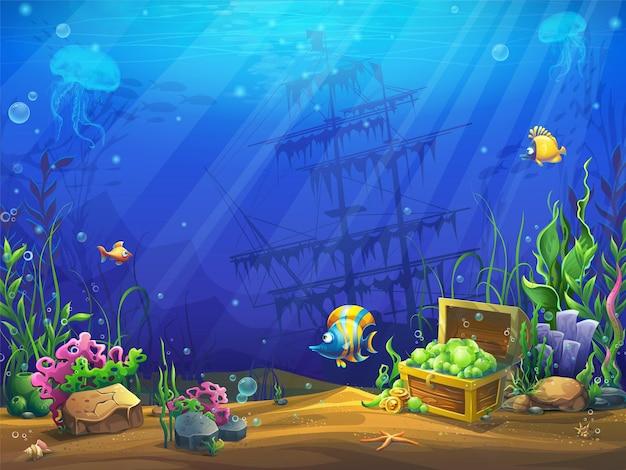 Ilustração horizontal do oceano subaquático
