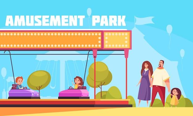 Ilustração horizontal do parque de diversões com mãe pai e filhos, personagens de desenhos animados, chegando para férias em família