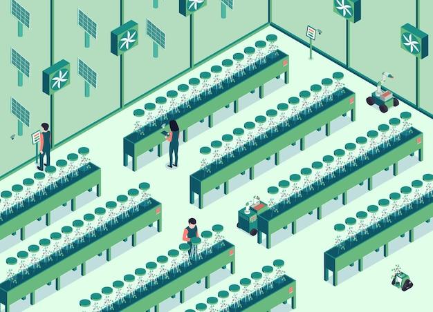Ilustração horizontal isométrica de fazenda inteligente