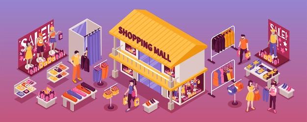 Ilustração horizontal isométrica de loja de departamentos de roupas
