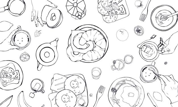 Ilustração horizontal no tema do café da manhã. vetor preto e branco mão desenhada mesa com bebidas, panquecas, sanduíches, ovos, croissants e frutas. vista do topo.