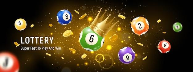 Ilustração horizontal realista de bolas de loteria