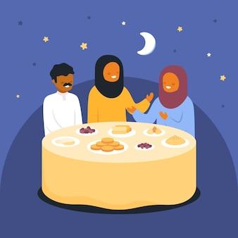 Ilustração iftar com pessoas fazendo uma refeição