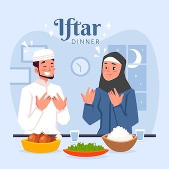Ilustração iftar desenhada à mão com pessoas fazendo uma refeição