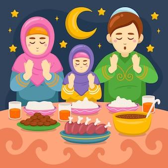 Ilustração iftar desenhada à mão com pessoas