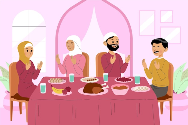 Ilustração iftar desenhada à mão