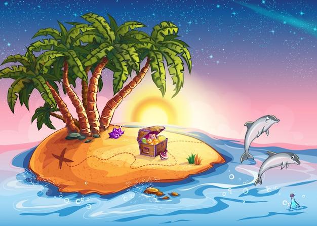 Ilustração ilha do tesouro ao pôr do sol e alegres golfinhos