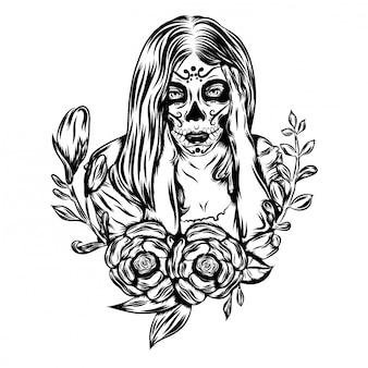 Ilustração ilustração com bela assustada de um dia de arte de rosto morto
