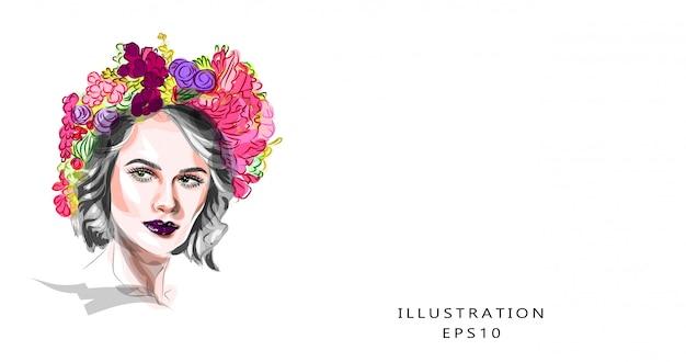 Ilustração, ilustração de moda sobre o tema de maquiagem e beleza. close-up bonito ovo feminino. garota com lindos olhos e uma guirlanda floral na cabeça dela. imagem de primavera.