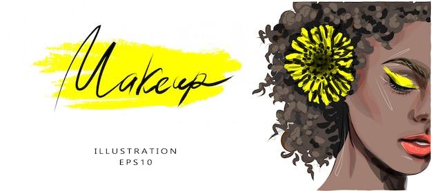 Ilustração, ilustração de moda sobre o tema de maquiagem e beleza. menina bonita de pele escura com tons de amarelo e uma flor amarela no cabelo