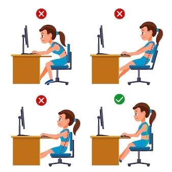 Ilustração ilustrada de infográficos de correção de postura em desenhos animados