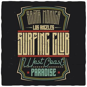 Ilustração impressionante de rótulo de clube de surf