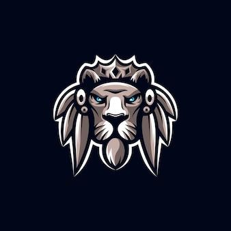 Ilustração incrível do design do logotipo do mascote do leão