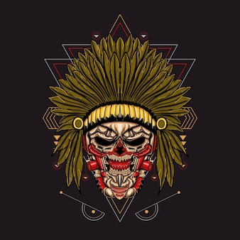 Ilustração indiana skull robotic sacred geometric
