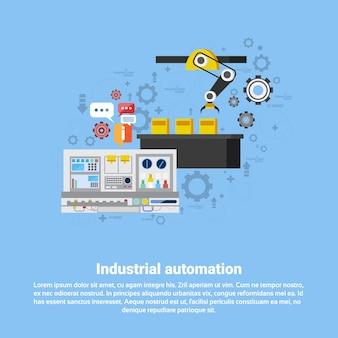 Ilustração industrial do vetor da bandeira da web da produção da indústria da automatização industrial