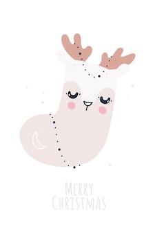 Ilustração infantil com cervo fofo e meia de natal