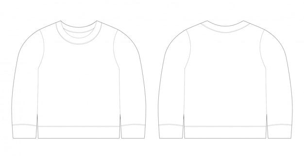 Ilustração infantil de t-shirt. frente de modelo de esboço de camisola e vista traseira. roupas de bebê.