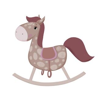 Ilustração infantil de um cavalo de balanço
