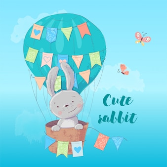 Ilustração infantil de um coelho fofo em um balão com bandeiras