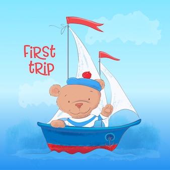 Ilustração infantil de um urso jovem bonito em um barco a vapor