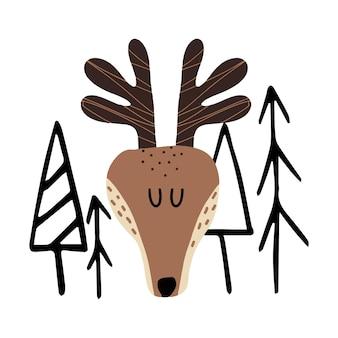 Ilustração infantil desenhada à mão de um cervo entre as árvores