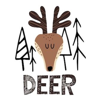 Ilustração infantil desenhada à mão de um cervo veado entre as árvores letras