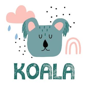 Ilustração infantil desenhada à mão de um coala. cabeça de coala fofa com arco-íris