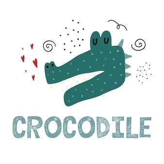Ilustração infantil desenhada à mão de um crocodilo cabeça de crocodilo fofa com corações Vetor Premium