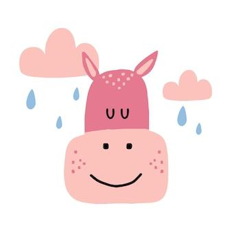 Ilustração infantil desenhada à mão de um hipopótamo rosa hipopótamo com nuvens e chuva
