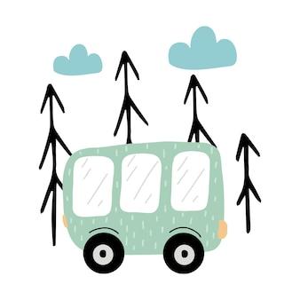 Ilustração infantil desenhada à mão de um ônibus verde ônibus verde perto das árvores