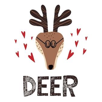 Ilustração infantil desenhada à mão de um veado cervo com óculos e corações em volta das letras