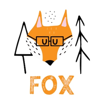 Ilustração infantil desenhada à mão de uma raposa vermelha com óculos cunning fox perto das árvores de natal