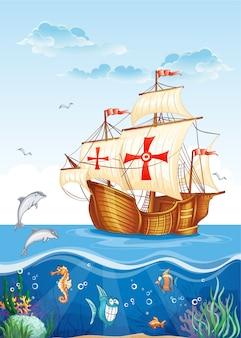 Ilustração infantil do mundo aquático com um veleiro da espanha, século xv