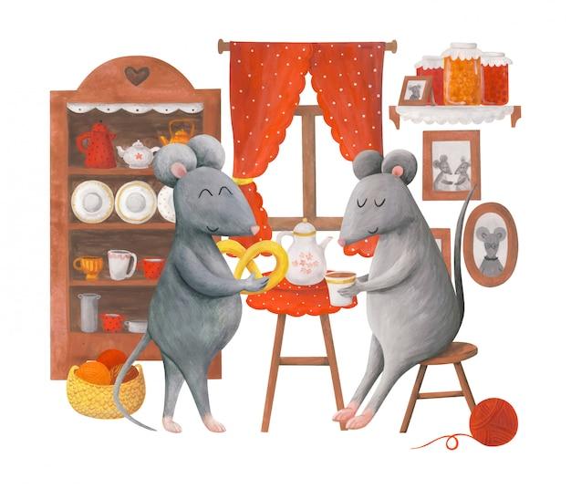 Ilustração infantil dois ratos cinza bebem chá com um pretzel em seu apartamento.