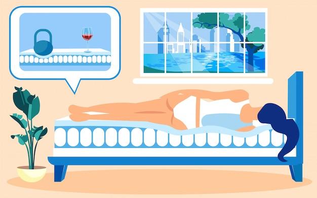 Ilustração infomercial de colchão ortopédico