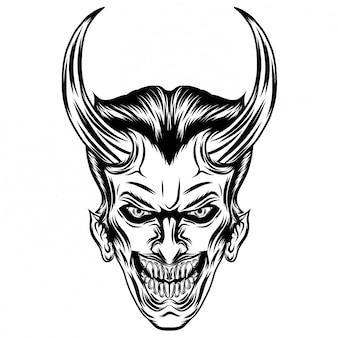 Ilustração inspiração de vampiro com dois chifres afiados
