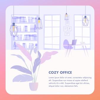 Ilustração interior cozy office business company