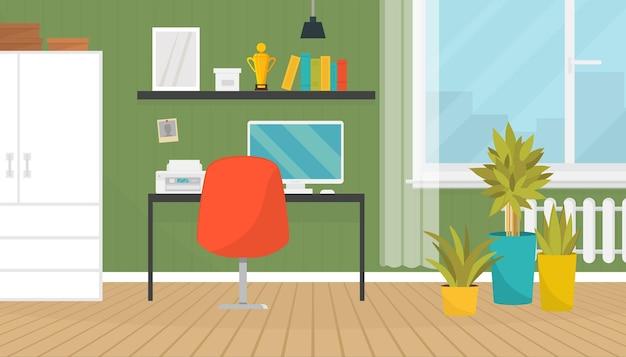 Ilustração interior da sala de escritório em casa moderno legal.