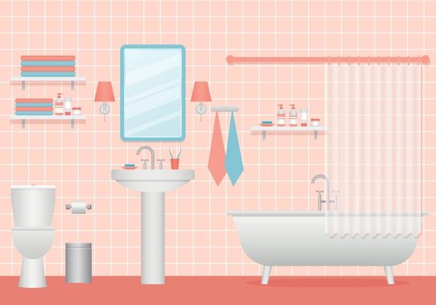 Ilustração interior de casa de banho