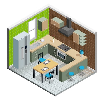 Ilustração interior de cozinha