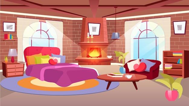 Ilustração interior de quarto de mulher. sofá dos desenhos animados, cama com travesseiro fofo em forma de coração. apartamento ensolarado com mobiliário moderno. mesa de café de madeira, estante. lareira de parede de tijolos com chama