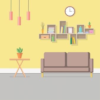 Ilustração interior de sala de estar.