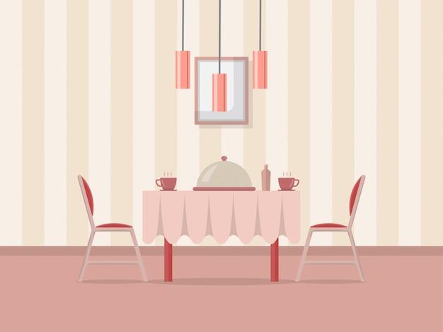 Ilustração interior de sala de jantar