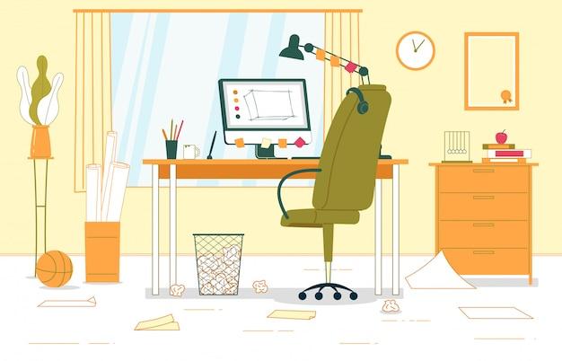 Ilustração interior do escritório domiciliário do negócio.