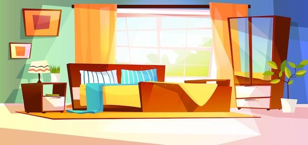Ilustração interior do quarto da mobília no fundo.